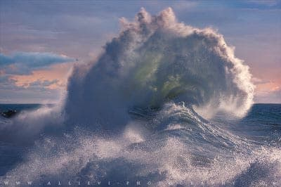 Giant oceanic wave at Varigotti beach