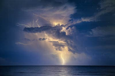 Thunderbolts over the sea