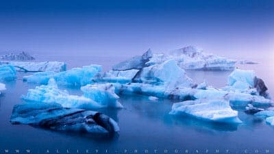 Icebergs floating at the Jokulsarlon lagoon in Iceland