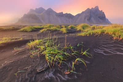 Black sand dunes near the Vesturhorn mountain in Iceland