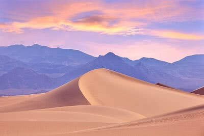 Death Valley dunes at dusk