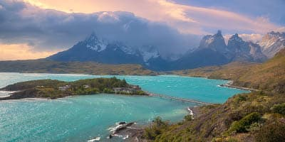 A view of Lake Pehoe in Torres del Paine National Park, Chile