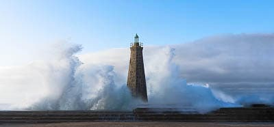 The Bajamar lighthouse during a sea storm – Tenerife, Canary Islands