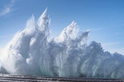 Rough sea during a sea storm at Bajamar beach, Tenerife – Spain.