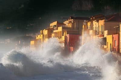 Houses by the sea at the Varigotti hamlet, Italy
